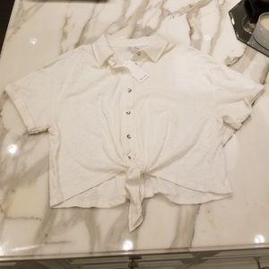 NWT Splendid Crop Tie Button Up Shirt